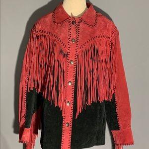 Red Bob Mackie Western suede Jacket Fringe Large